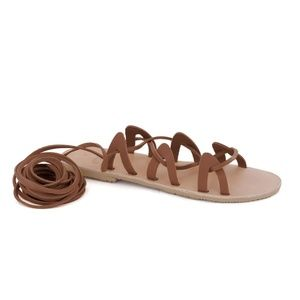 GREEK LEATHER SANDALS 'ANDROMEDA' Burgundy